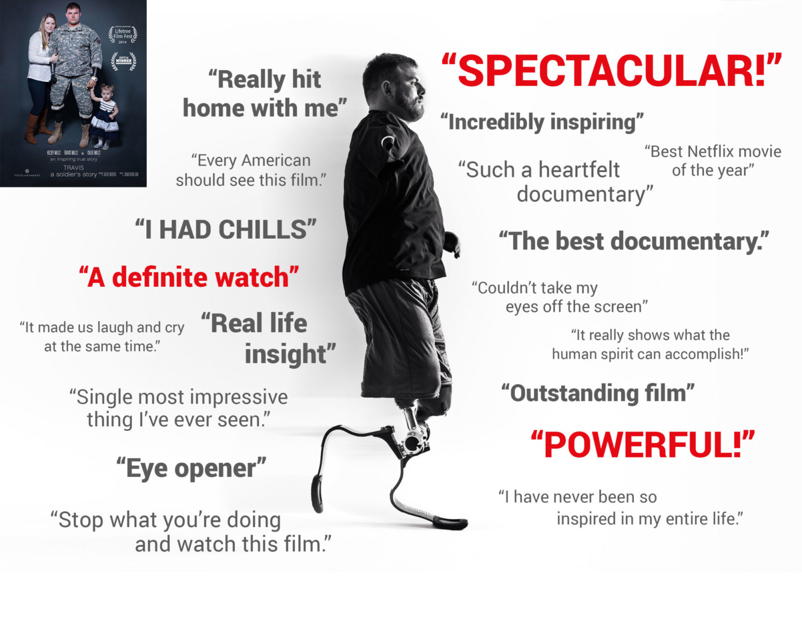 Image showcasing reviews about Travis: A Soldier's Story. A movie about Army Staff Sergeant Travis Mills.